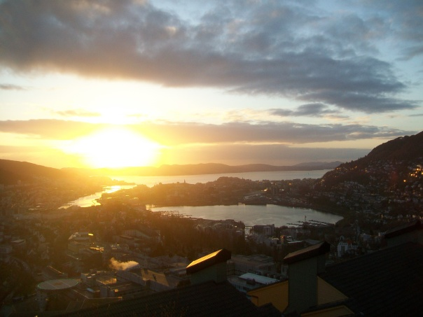 Bergen sunset from the Hostel Montana.