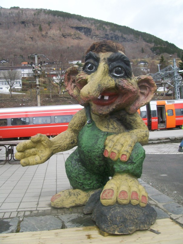 Troll provides warm welcome at Voss railway station.