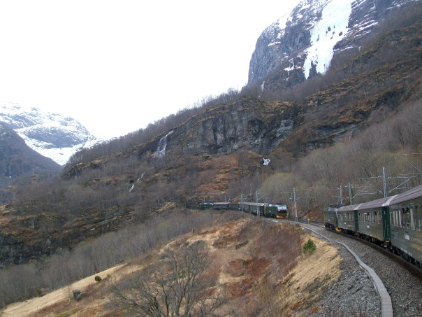 Trains pass on the Flam-Myrdal trainline.