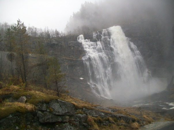 Waterfall on road between Voss and Eidfjord.
