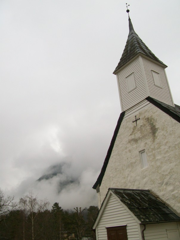 Eidfjord church and mountains.